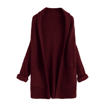 Open Front Curled Sleeve Batwing Cardigan - WINE RED ONE SIZE