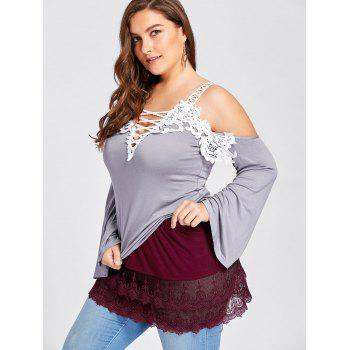 Plus Size Tiered Sheer Lace Extender Skirt - WINE RED 5XL