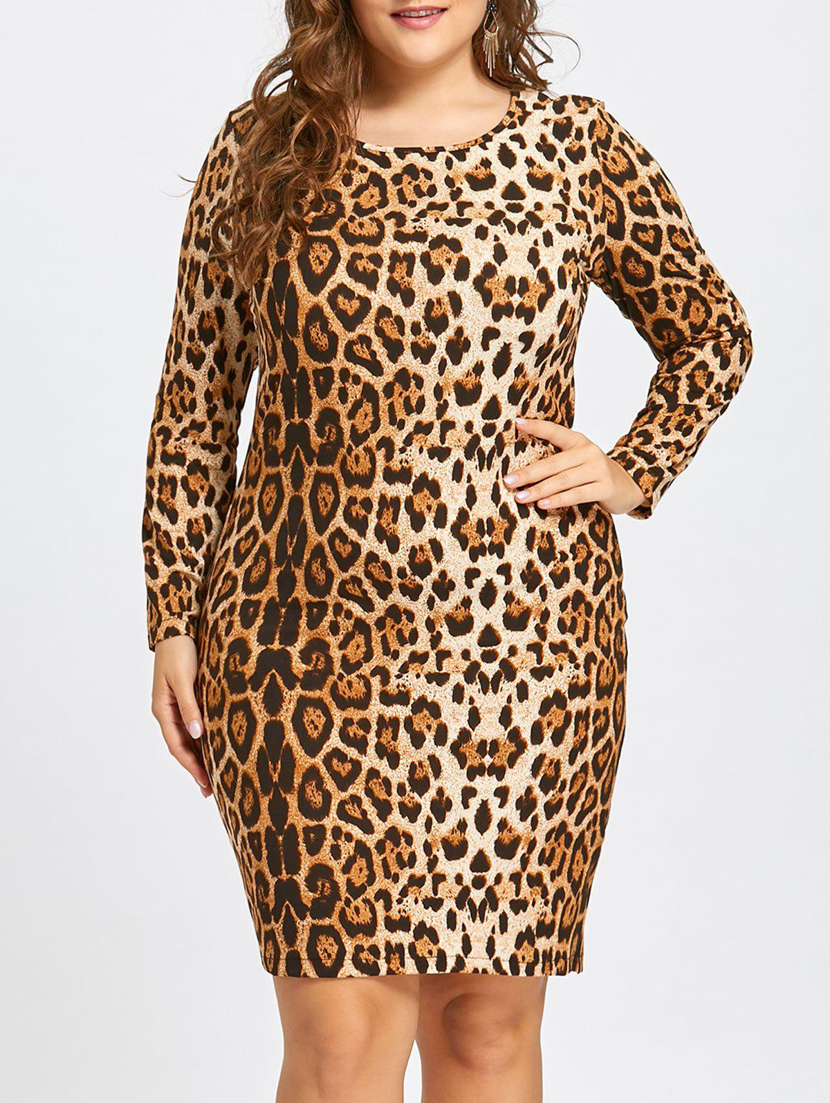 Plus Size Leopard Long Sleeve Sheath Dress - YELLOW 5XL