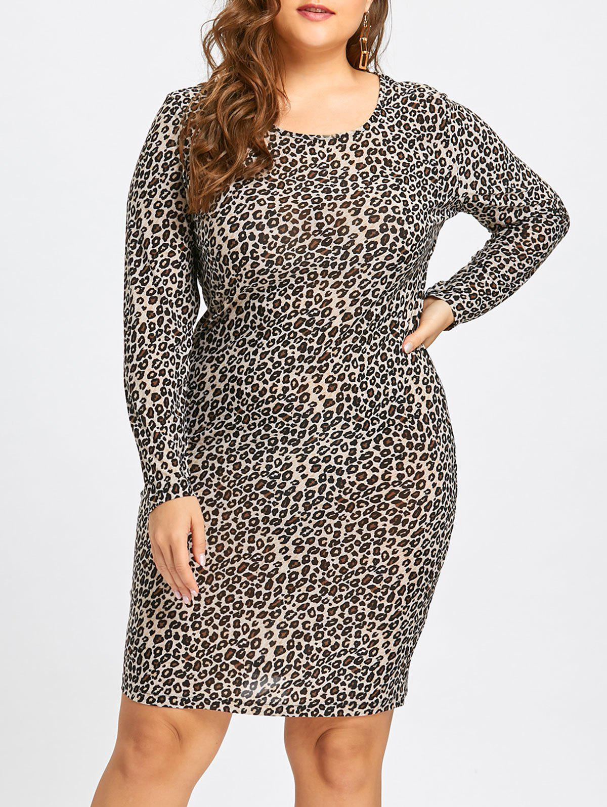 Plus Size Leopard Long Sleeve Sheath Dress - GRAY 4XL