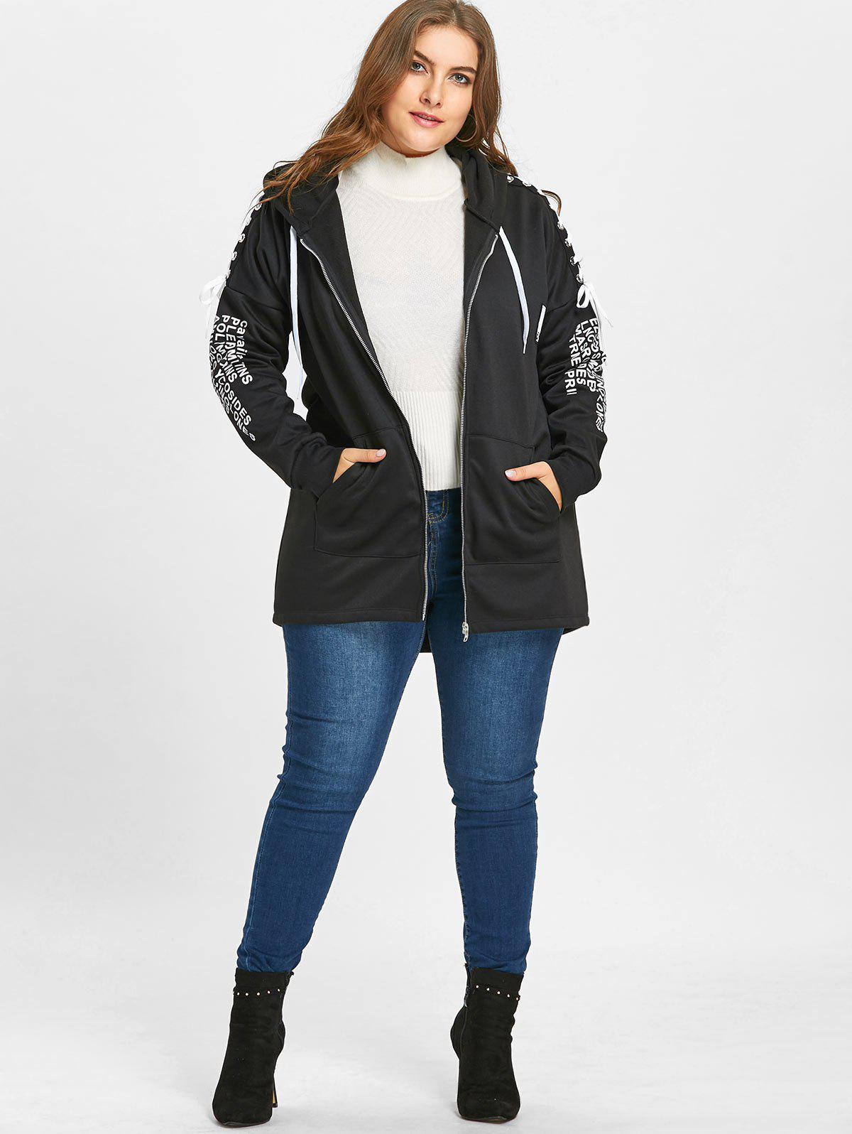 Plus Size Lace-up Zip Up Five Patched Hoodie - BLACK 5XL
