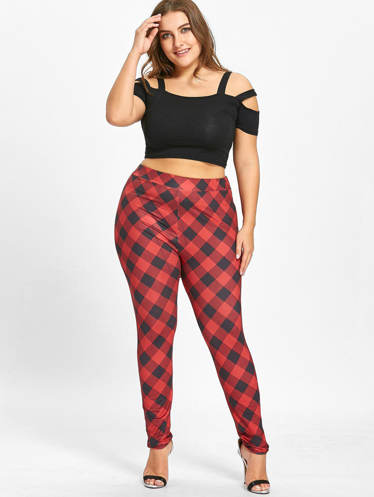 Plus Size Check Leggings - RED 5XL