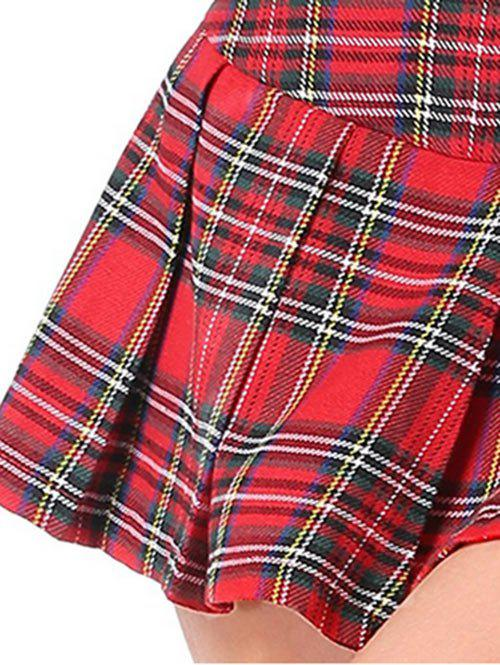 Lingerie Mini Pleated Tartan Skirt - RED M