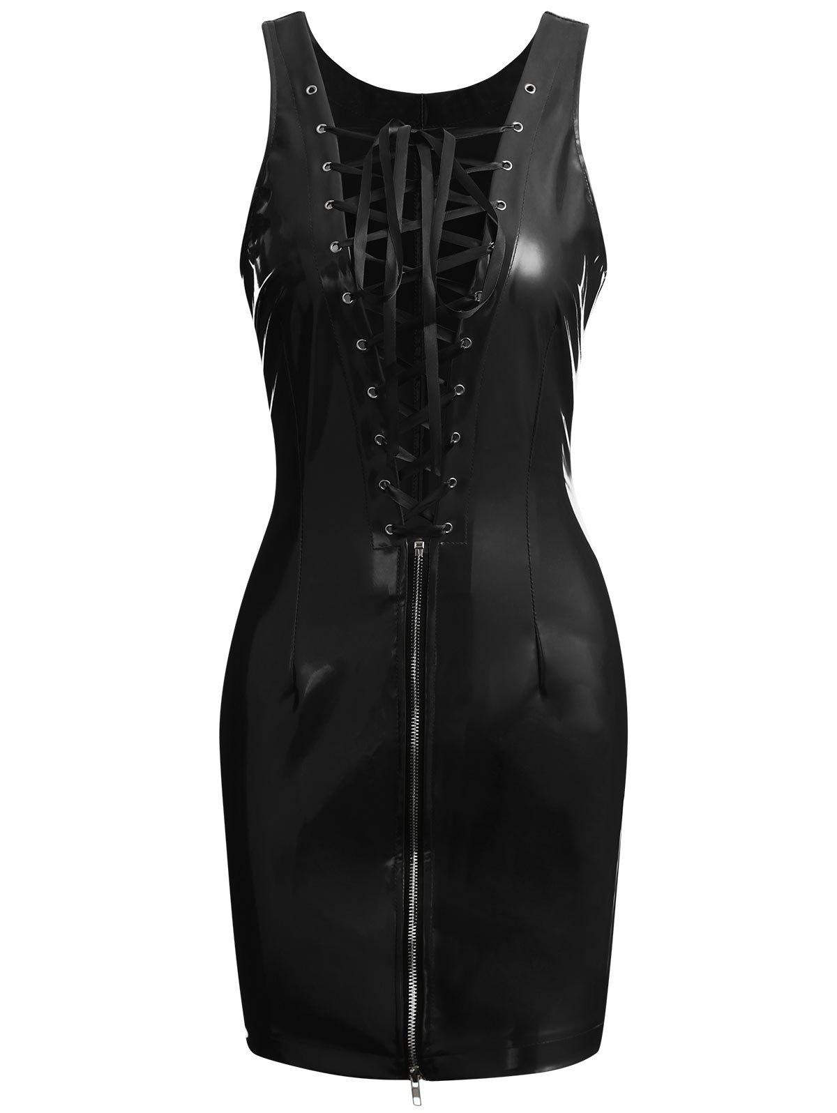 Faux Leather Lace-up Zip Club Dress - BLACK XL