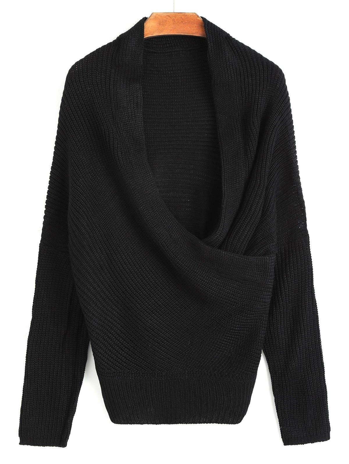Ribbed Plunging Neck Wrap Sweater - BLACK ONE SIZE