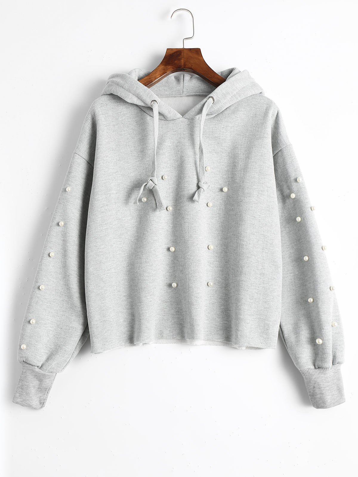 Tunic Faux Pearl Hoodie - GRAY L