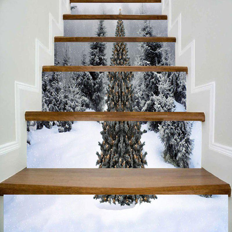 Christmas Snowscape Pattern Home Decor Stair Stickers letter print christmas elements home decor stair stickers