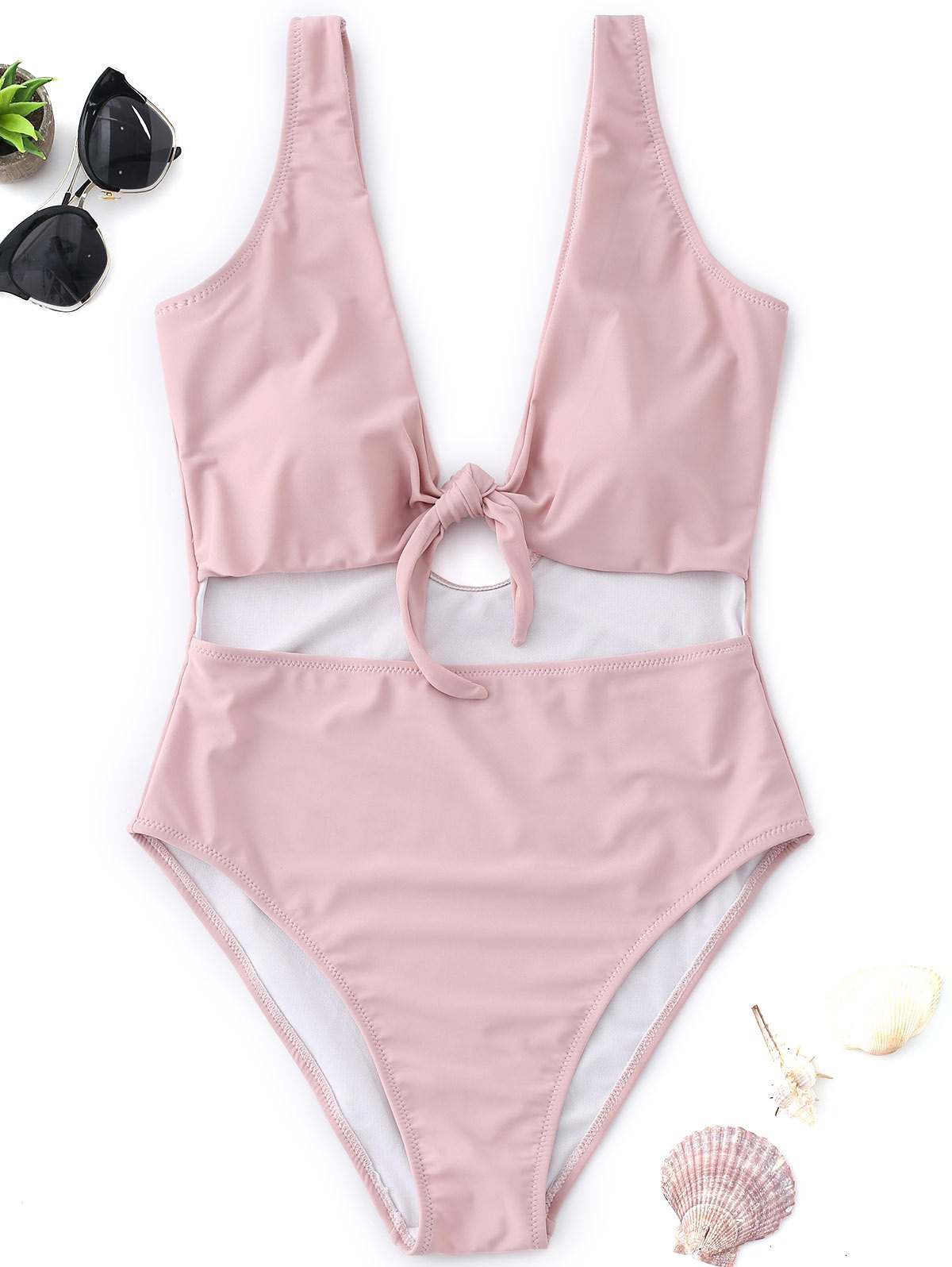 Knot Cutout High Cut Swimsuit - PINK S