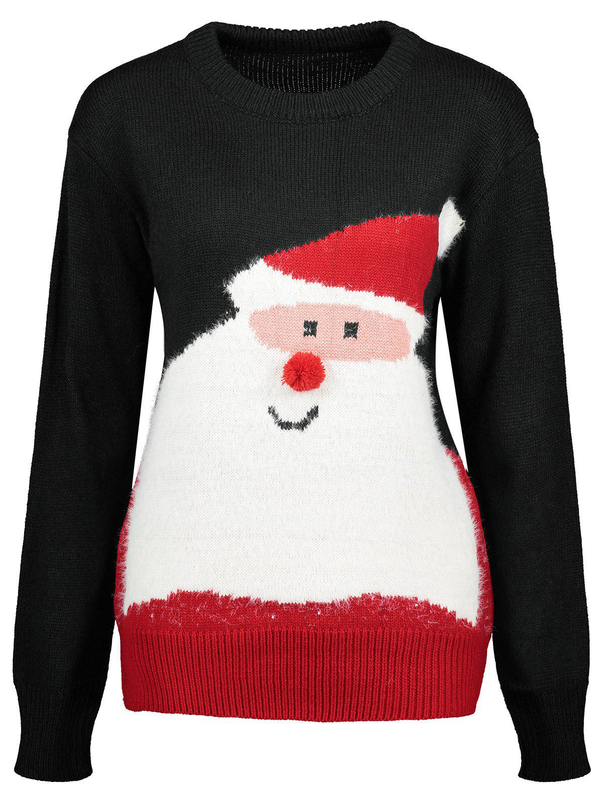 Santa Claus Print Crew Neck Christmas Sweater - BLACK ONE SIZE