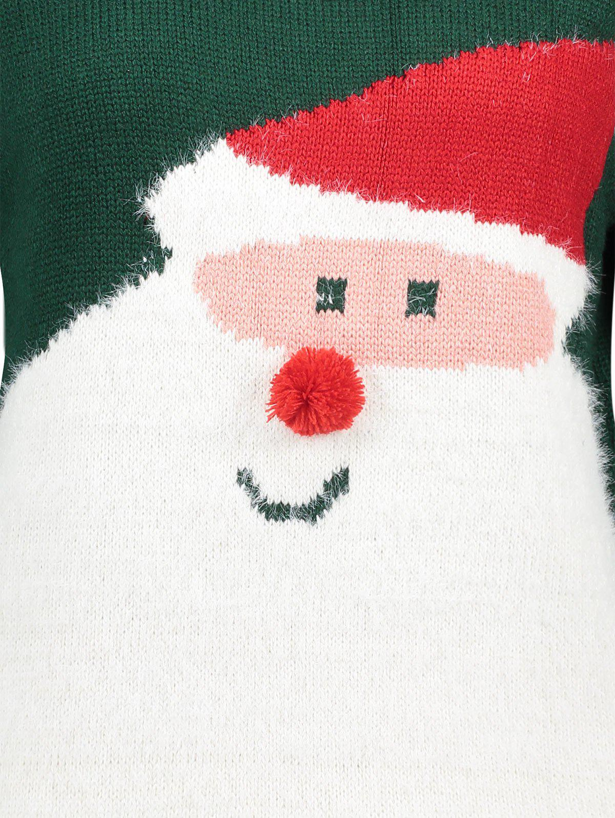 Santa Claus Print Crew Neck Christmas Sweater - GREEN ONE SIZE