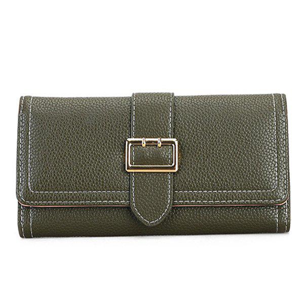 Stitching PU Leather Buckle Strap Wallet - BLACKISH GREEN