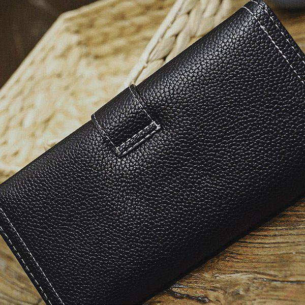 Stitching PU Leather Buckle Strap Wallet - BLACK
