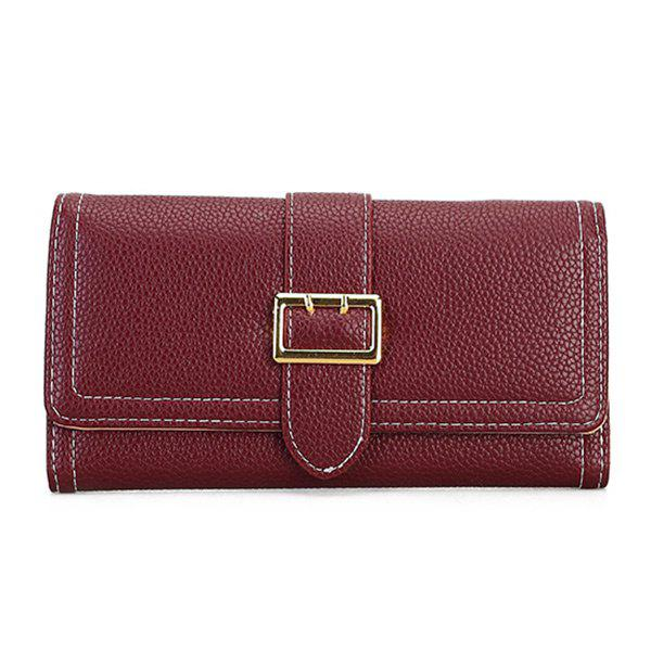 Stitching PU Leather Buckle Strap Wallet - WINE RED