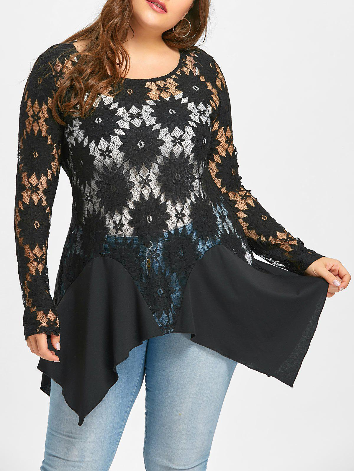 Plus Size Sheer Lace Handkerchief Blouse цепочка с подвеской oem 5 f60ss0092 m1