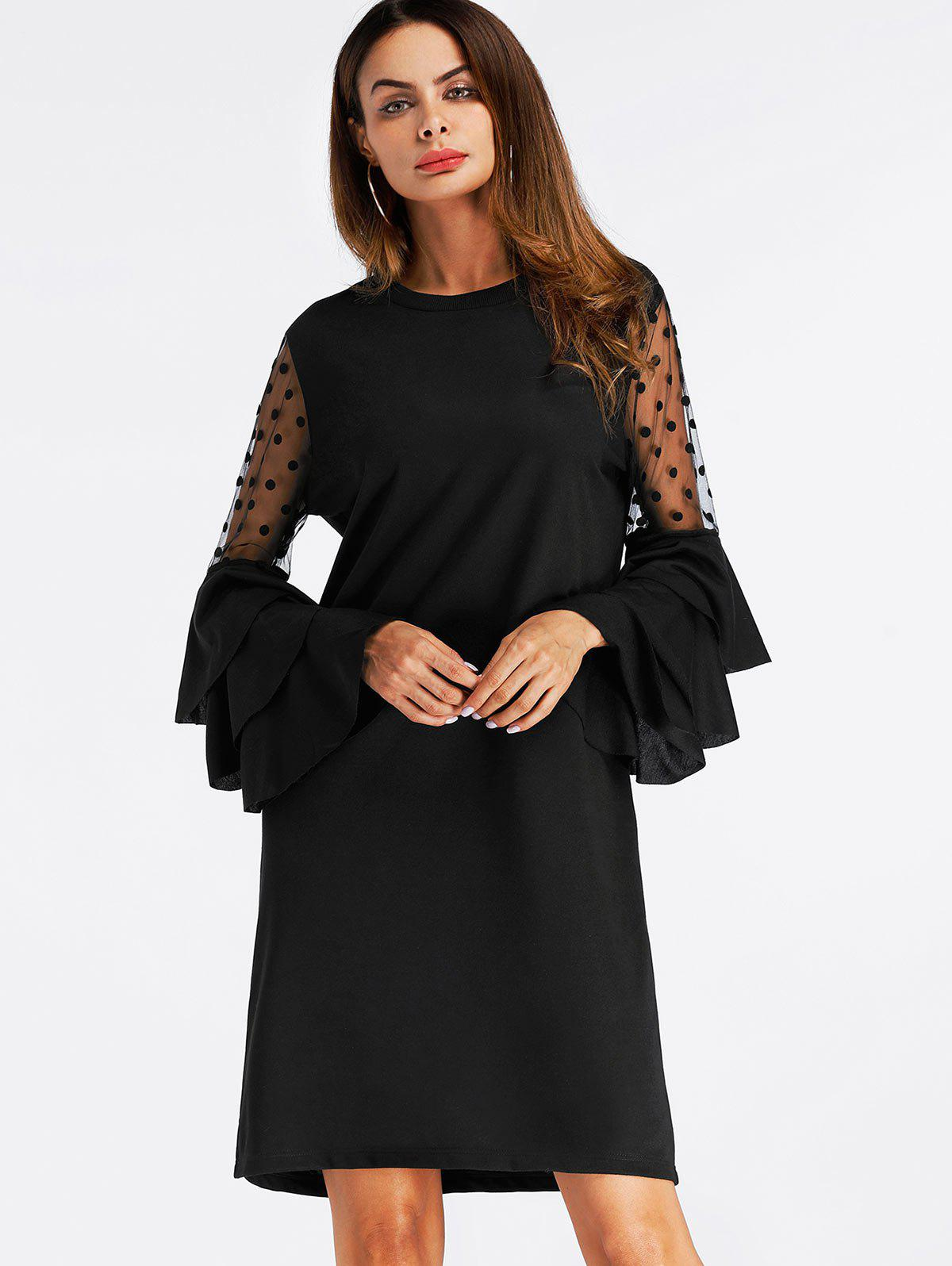 Mini Bell Sleeve Mesh Insert Shift Dress - BLACK S