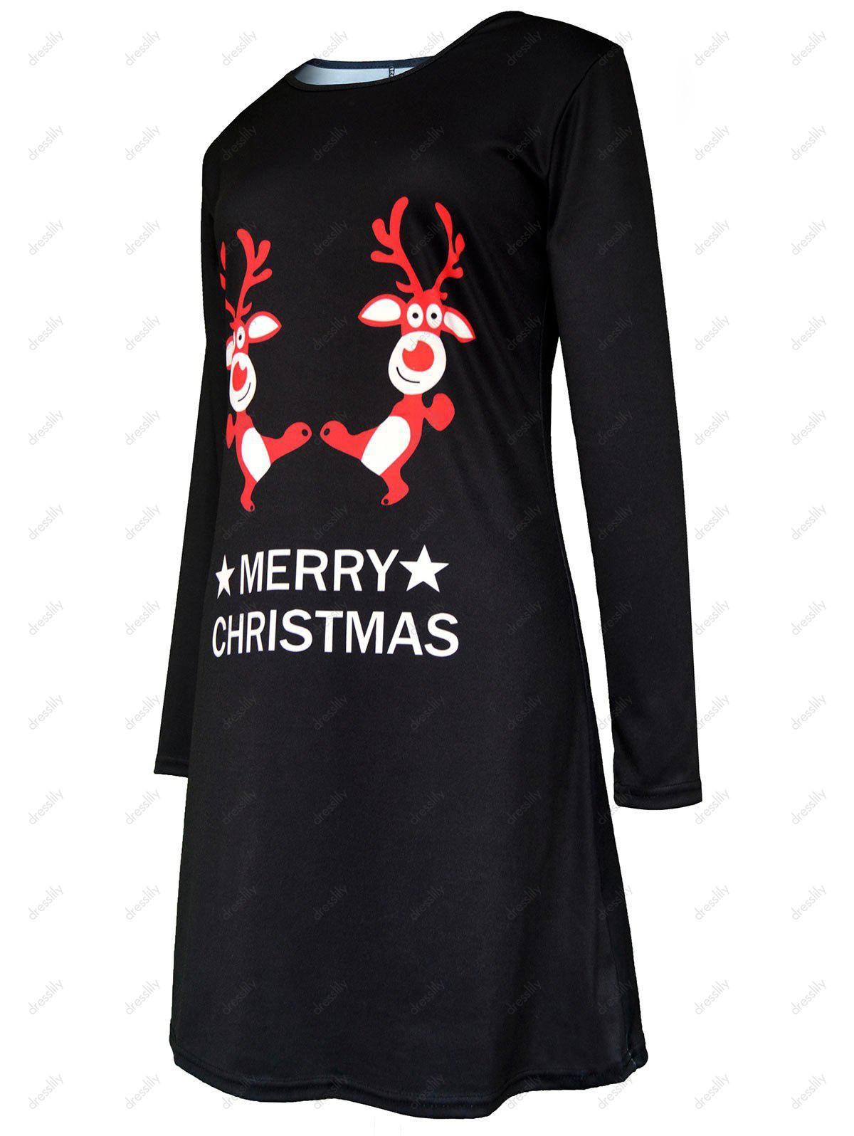Merry Christmas Elk Printed Swing Dress - BLACK S