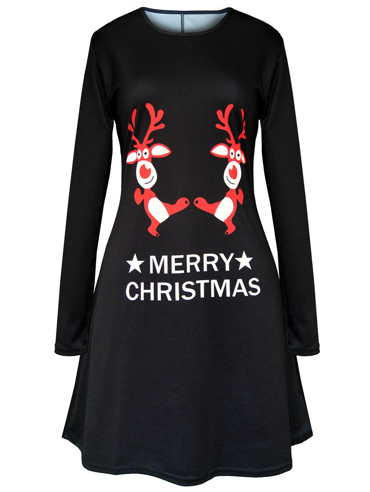 Merry Christmas Elk Printed Swing Dress - BLACK L