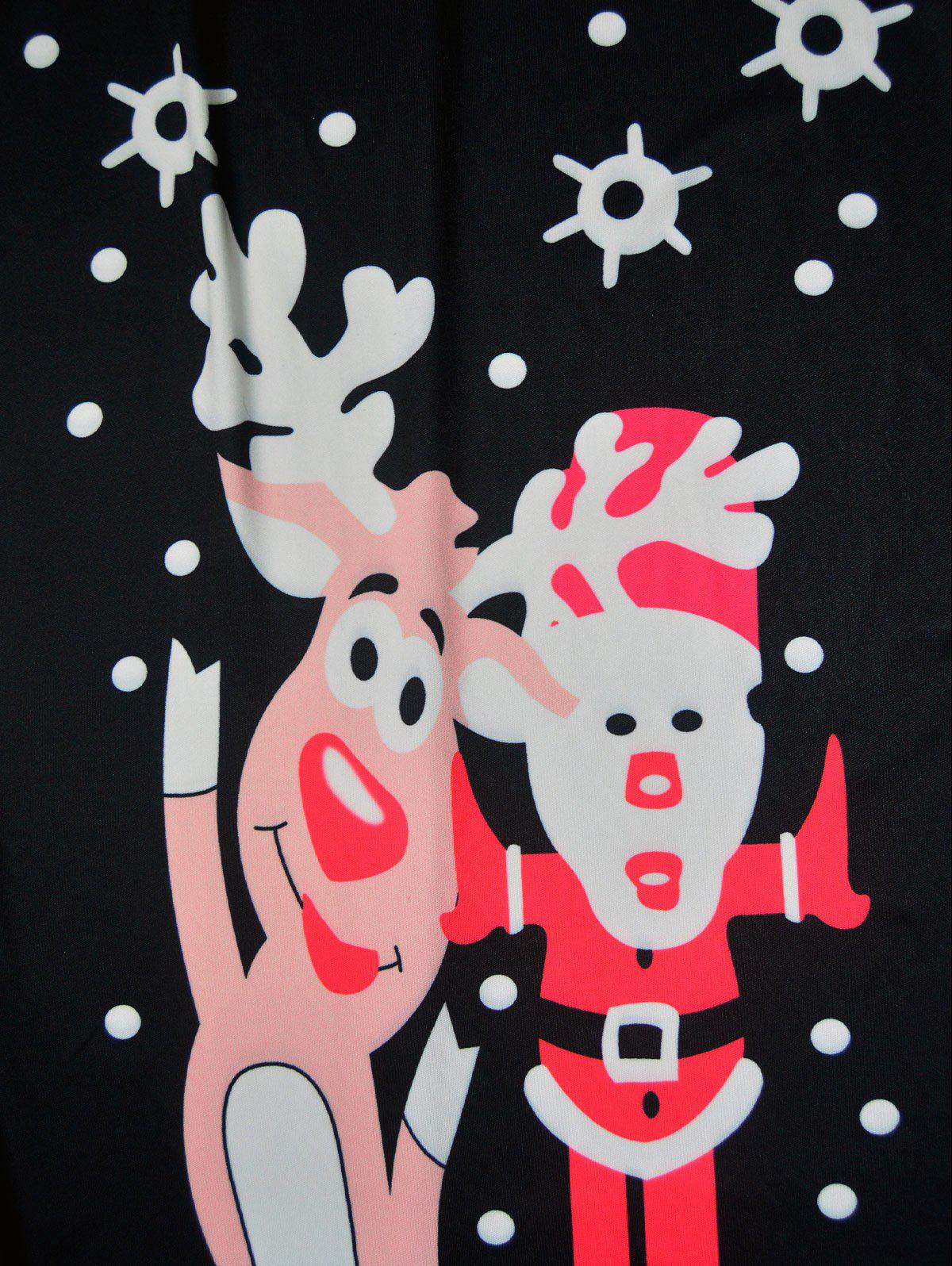 Christmas Polka Dot Elk Santa Claus Print Dress - BLACK M