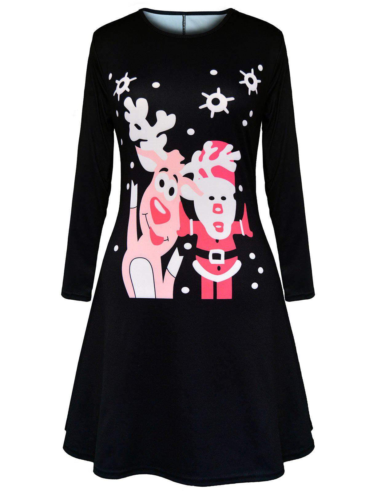 Christmas Polka Dot Elk Santa Claus Print Dress - BLACK 2XL