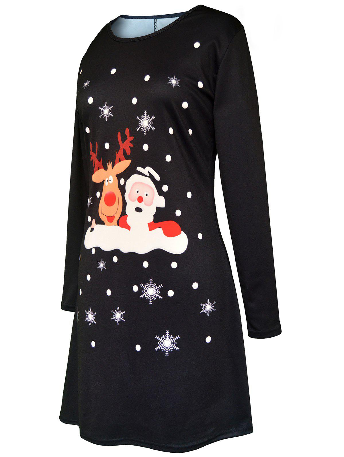 Christmas Cartoon Santa Claus Elk Print Dress - BLACK M