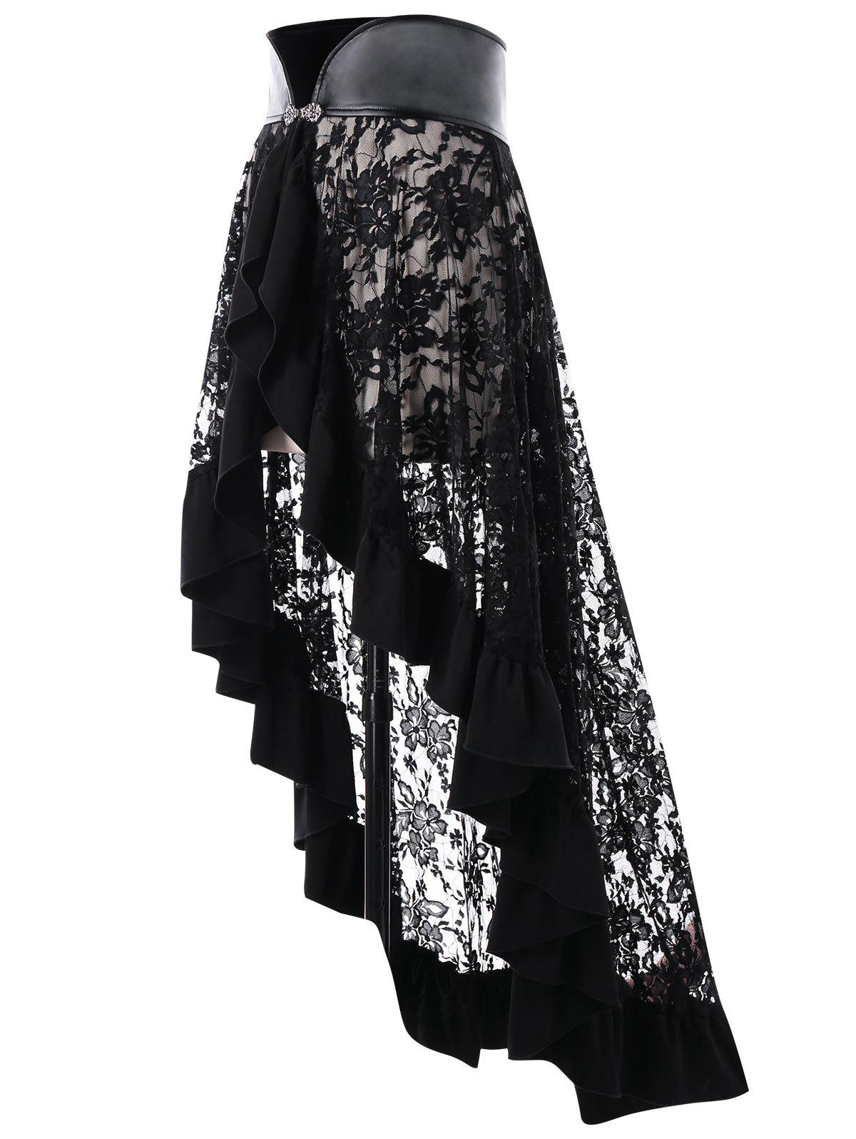 Sheer Ruffle Trim Lace Cape - BLACK L