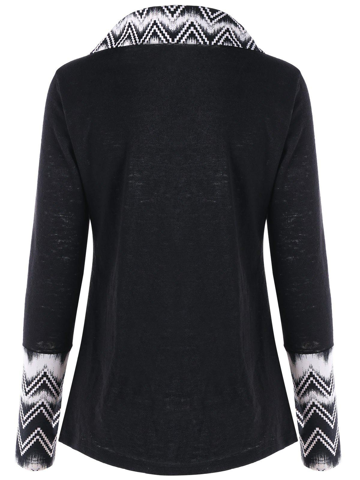 Turndown Collar Chevron Panel Long Sleeve Top - BLACK L