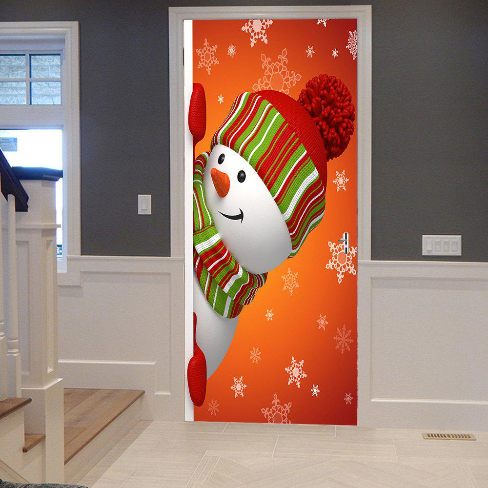 Christmas Hatted Snowman Pattern Door Stickers - COLORMIX 38.5*200CM*2PCS