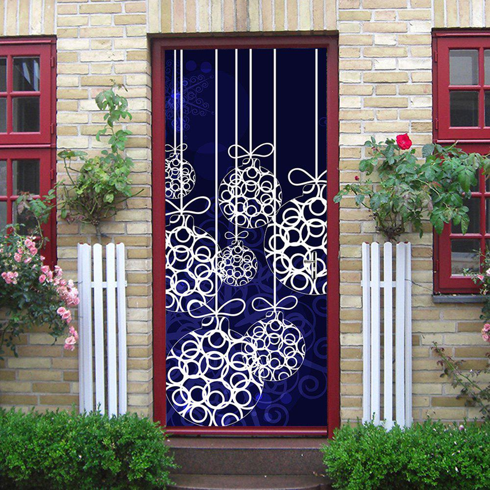 Christmas Hanging Baubles Pattern Door Stickers - DEEP BLUE 38.5*200CM*2PDS