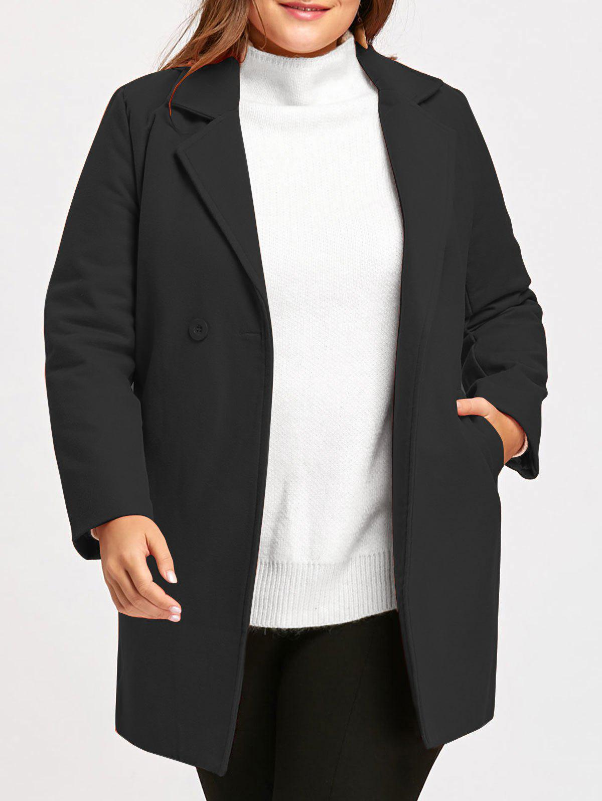 Plus Size Long  Wool Blend Lapel Coat - BLACK 4XL