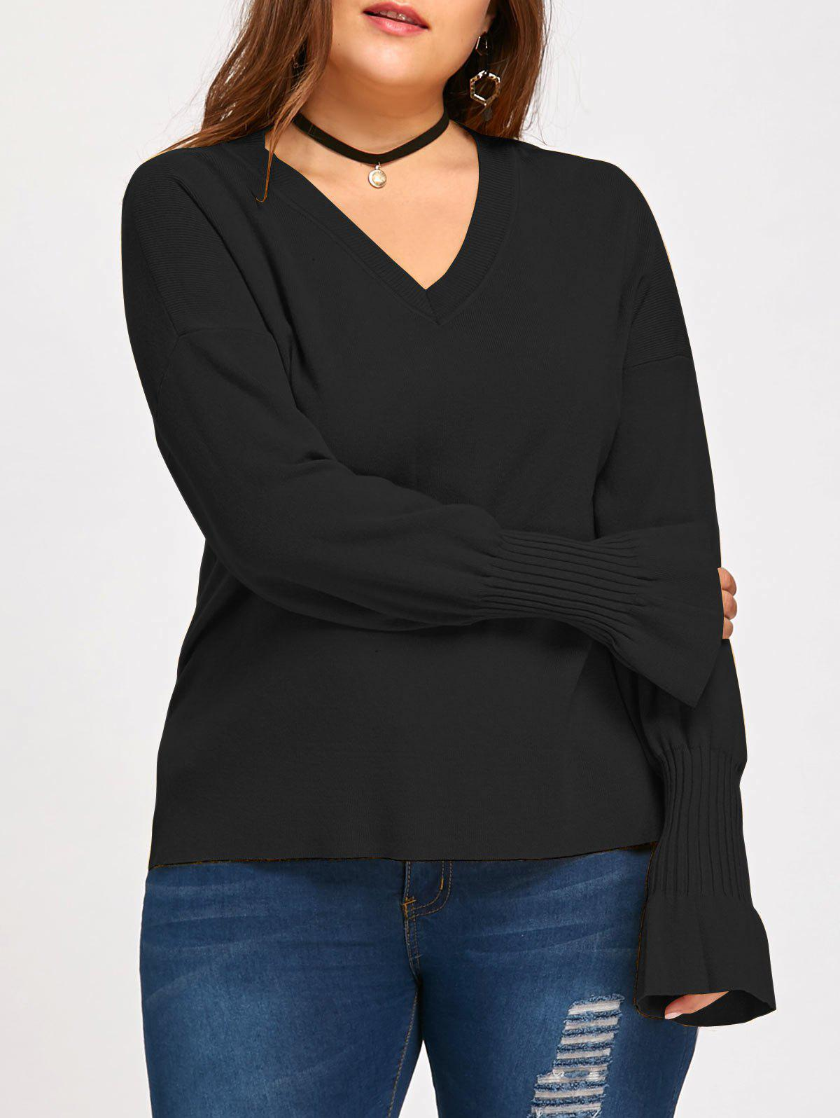 Flounce Lantern Sleeve Plus Size V Neck Sweater - BLACK 3XL