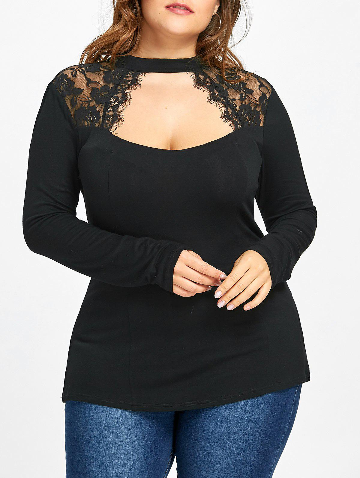 Plus Size Lace Panel Keyhole Top sheer lace panel plus size leggings