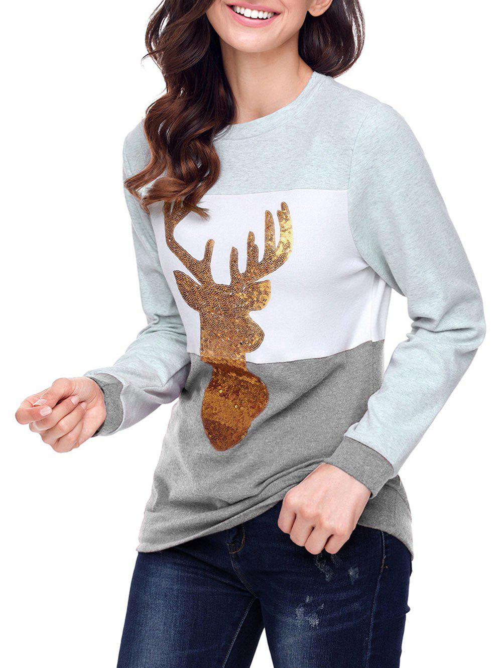 Christmas Sequined Deer Color Block Top - GRAY L