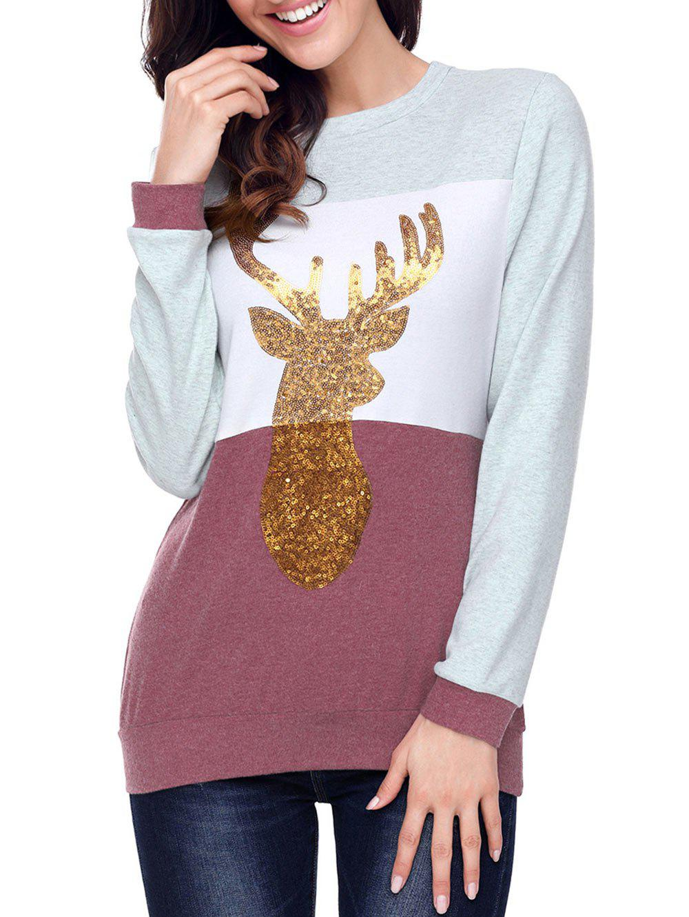 Christmas Sequined Deer Color Block Top - CLARET 2XL