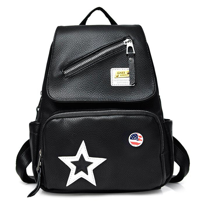 Star Flag Faux Leather Backpack - BLACK