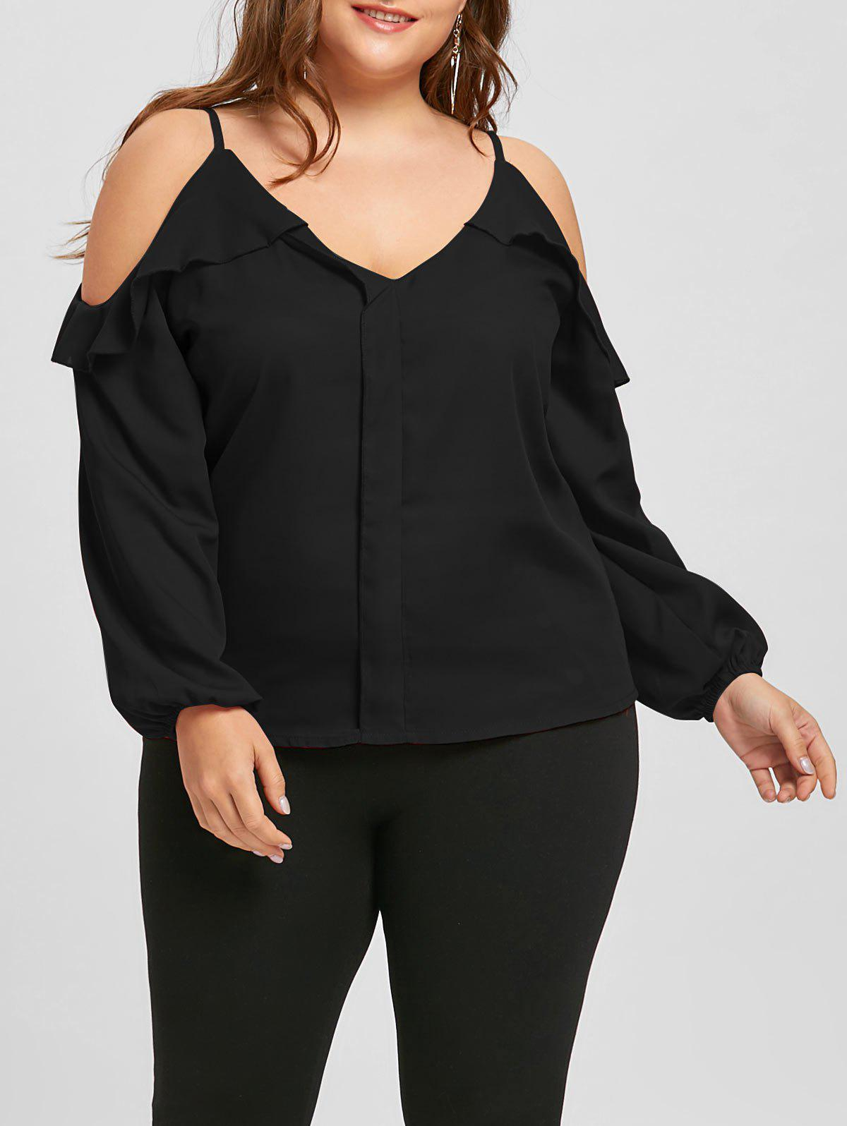 Plus Size Ruffled Long Sleeve Chiffon Cold Shoulder Top - BLACK 3XL