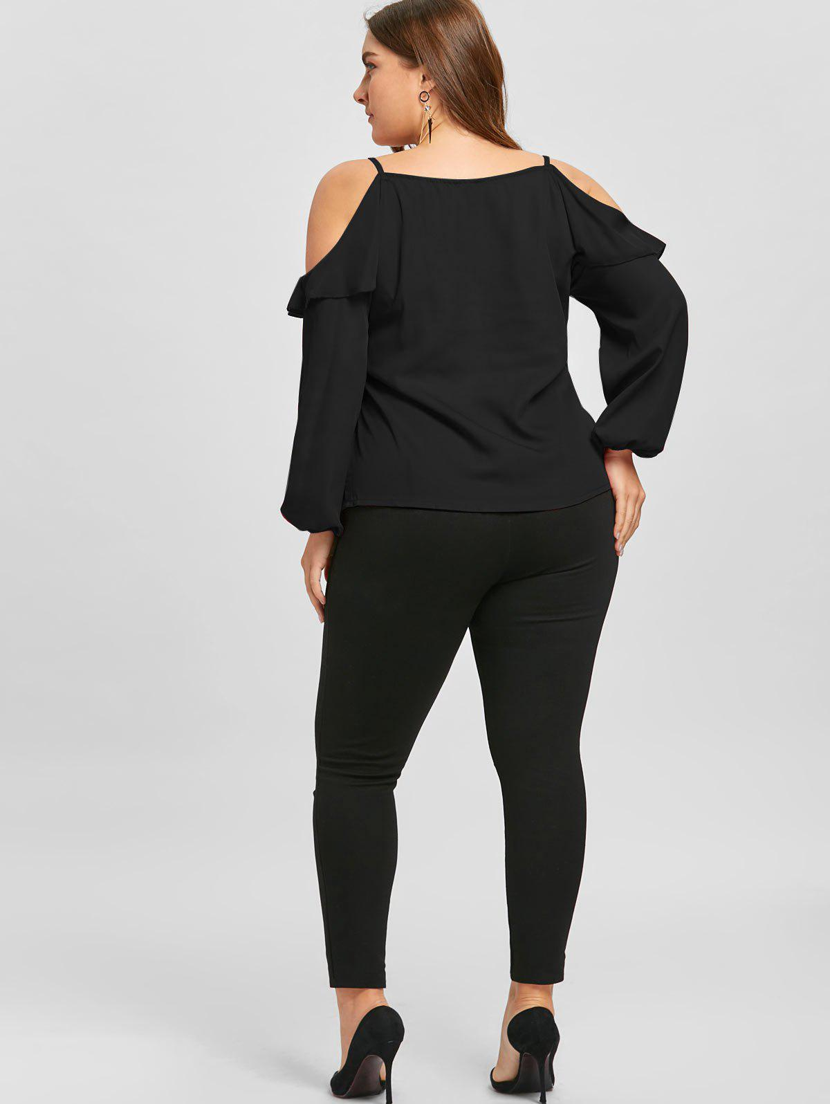 Plus Size Ruffled Long Sleeve Chiffon Cold Shoulder Top - BLACK 2XL