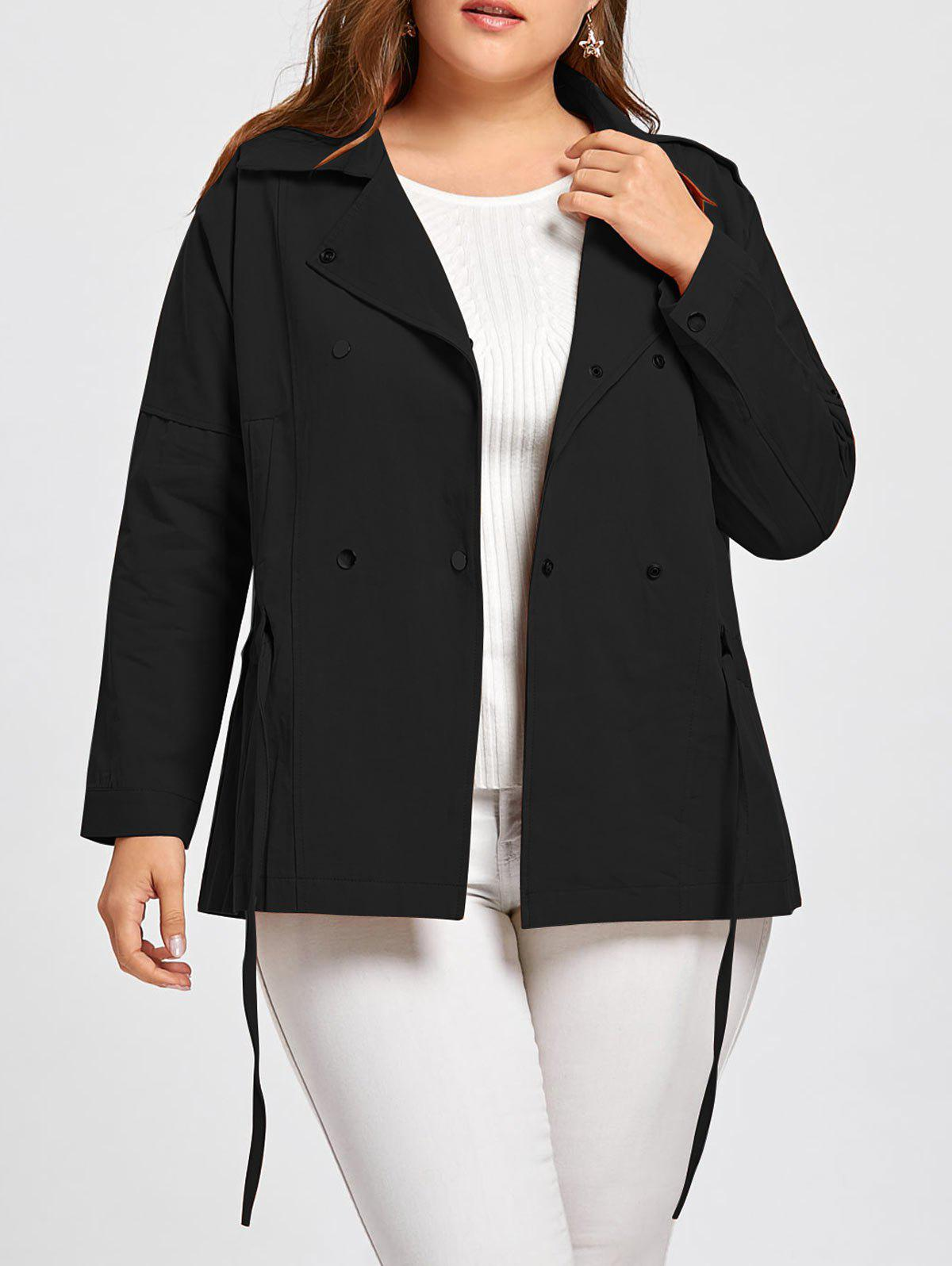 Plus Size Drawstring Double Breasted  Peplum Jacket - BLACK 3XL