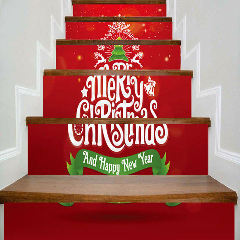 Merry Christmas Tree Patterned Stair Stickers - RED 100*18CM*6PCS