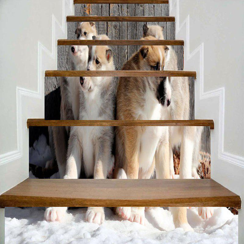 Four Dogs Wood Grain Printed Decorative Stair Stickers - COLORMIX 100*18CM*6PCS