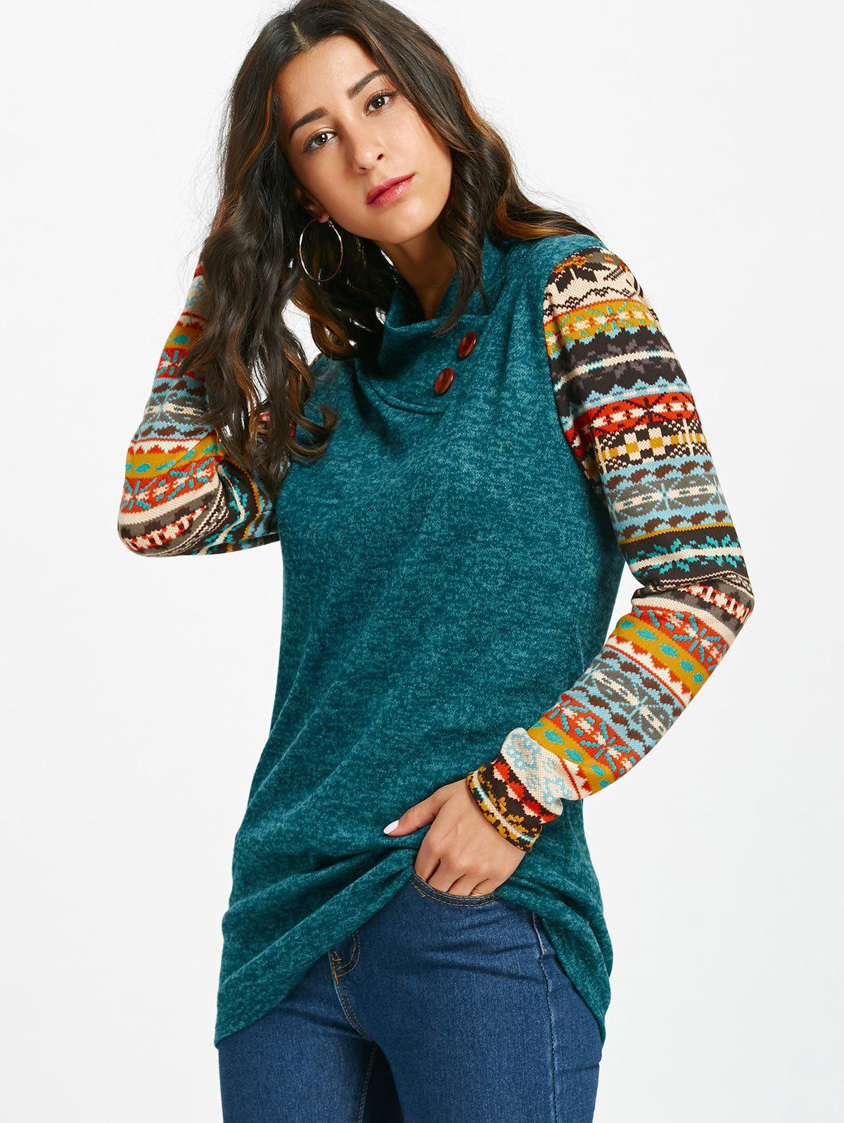 Tribal Print Long Sleeve Heap Collar Top - BLACKISH GREEN XL