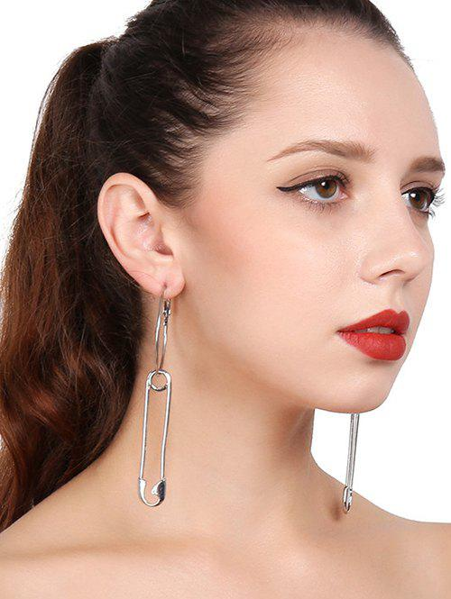 Alloy Circle Pin Hoop Drop Earrings - SILVER