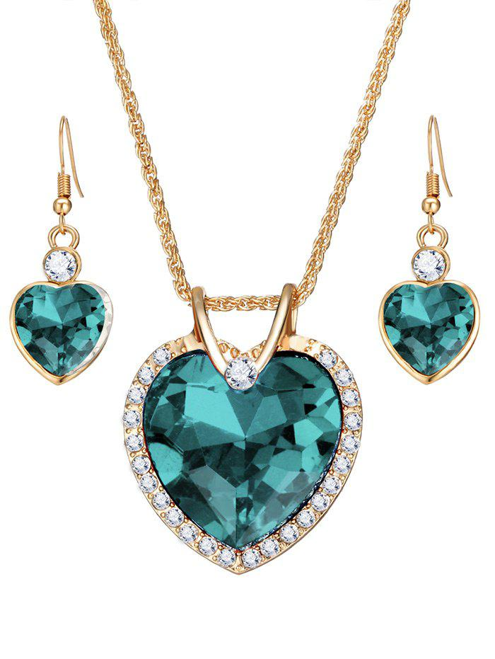 Faux Crystal Gem Rhinestone Heart Jewelry Set - GREEN