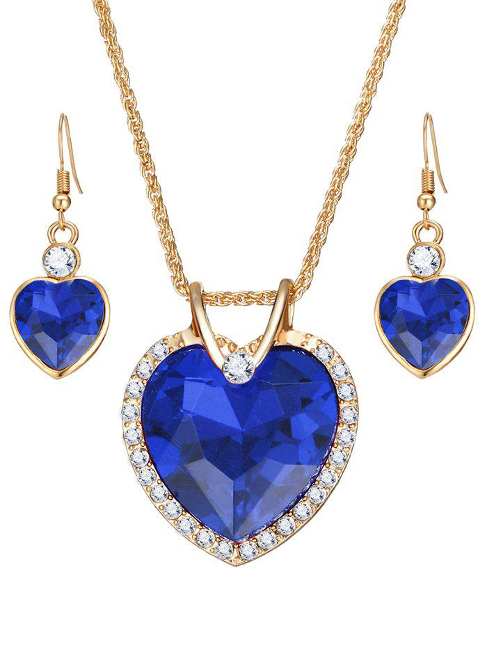 Faux Crystal Gem Rhinestone Heart Jewelry Set - BLUE