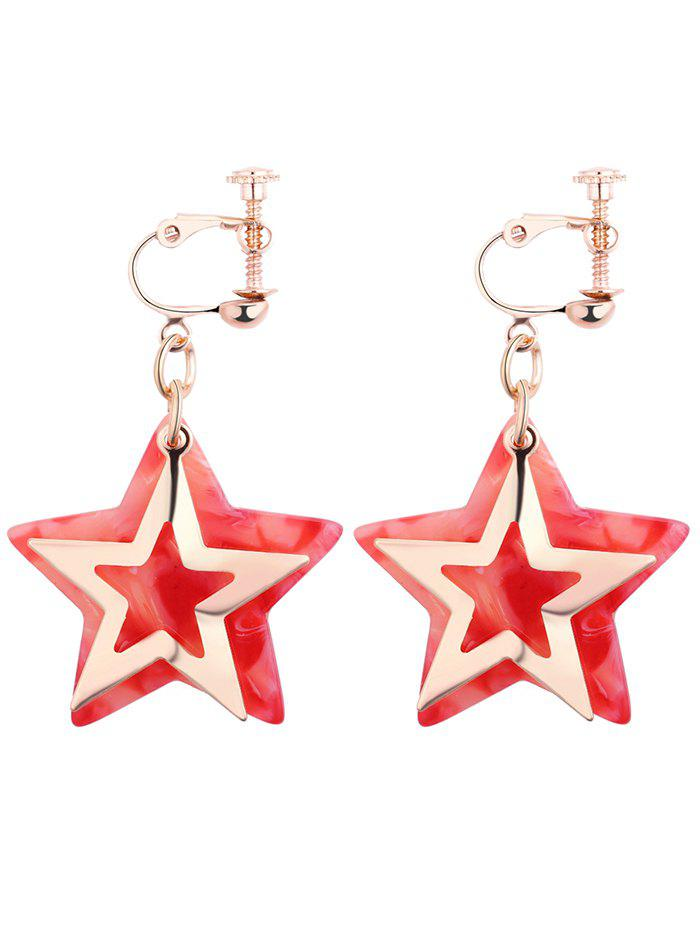 Alloy Resin Star Drop Earrings - RED