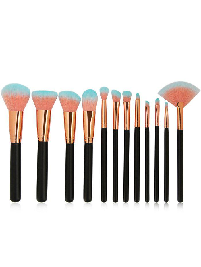 12 Pieces Two Tones Bristles Makeup Brushes Set - BLACK