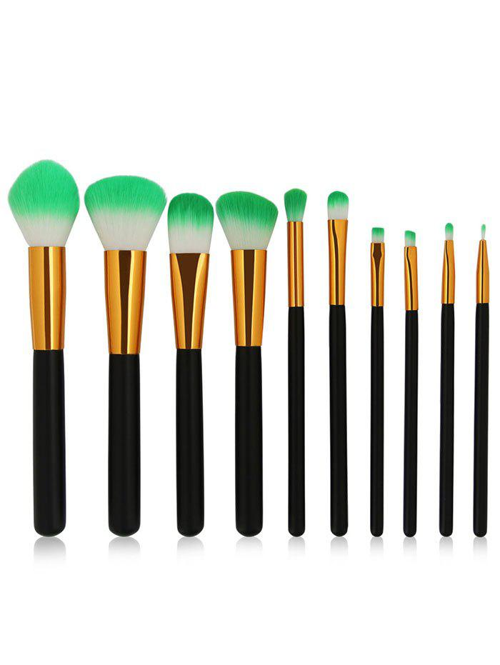 10 Pieces Two Tones Bristles Makeup Brush Set - BLACK