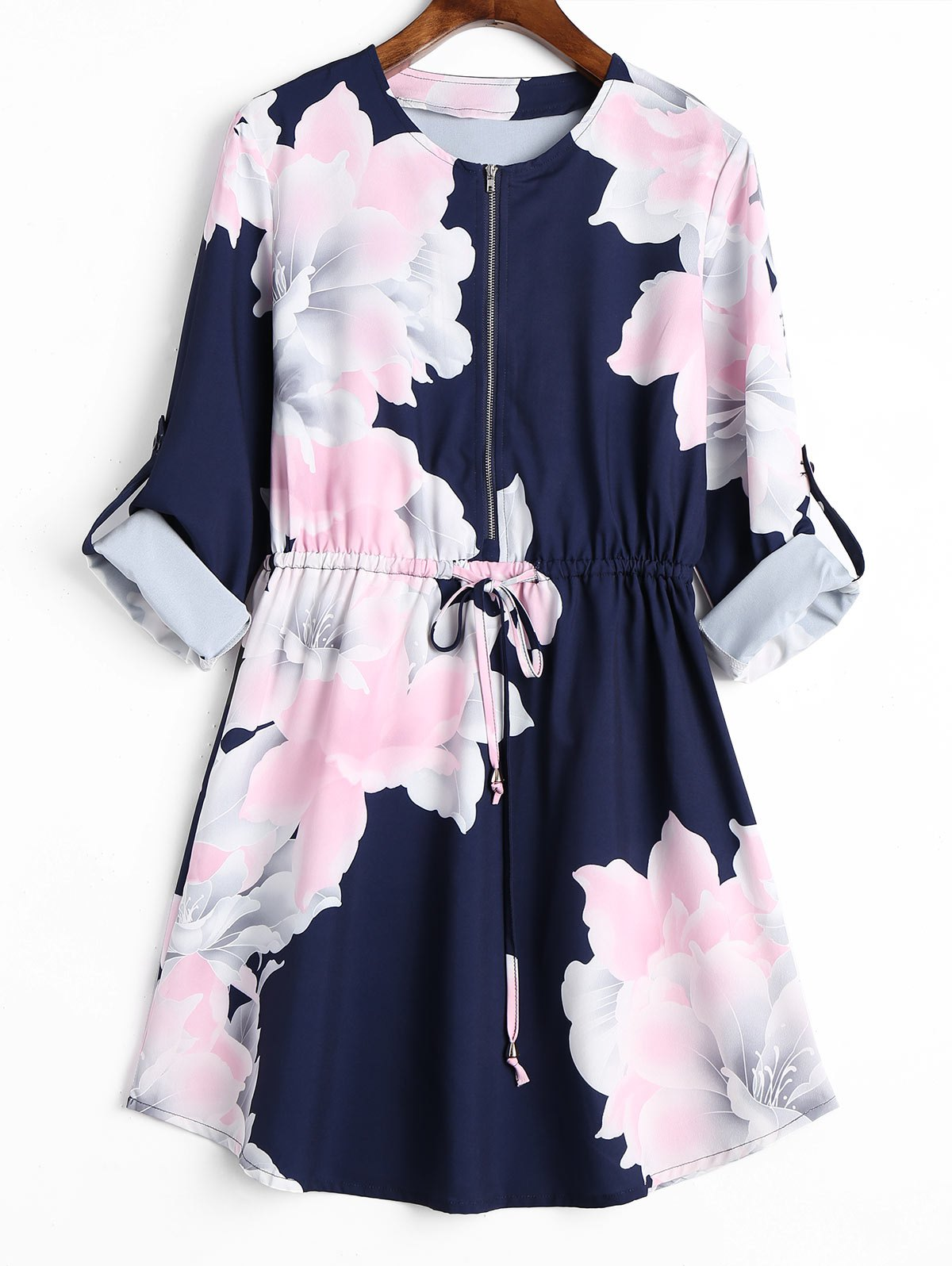 Cuff Roll Sleeve Half Zipper Floral Dress - PURPLISH BLUE XL