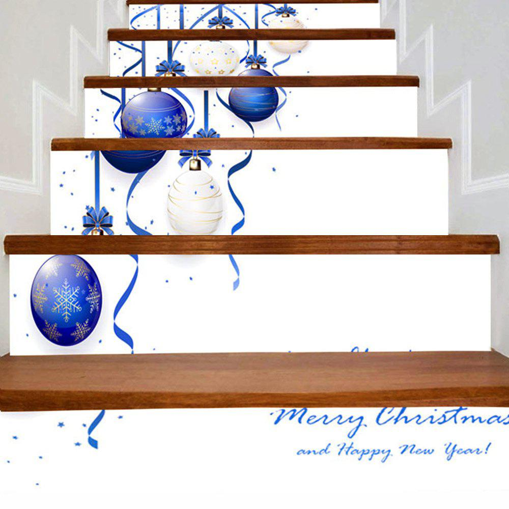 Christmas Hanging Balls Printed Stair Stickers - BLUE/WHITE 100*18CM*6PCS