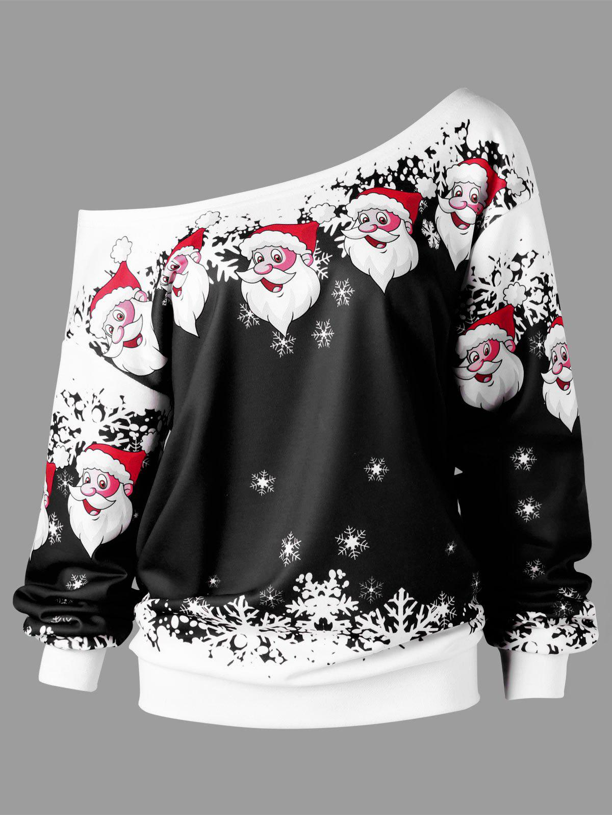 Plus Size Christmas Santa Claus Skew Collar Sweatshirt - BLACK 3XL