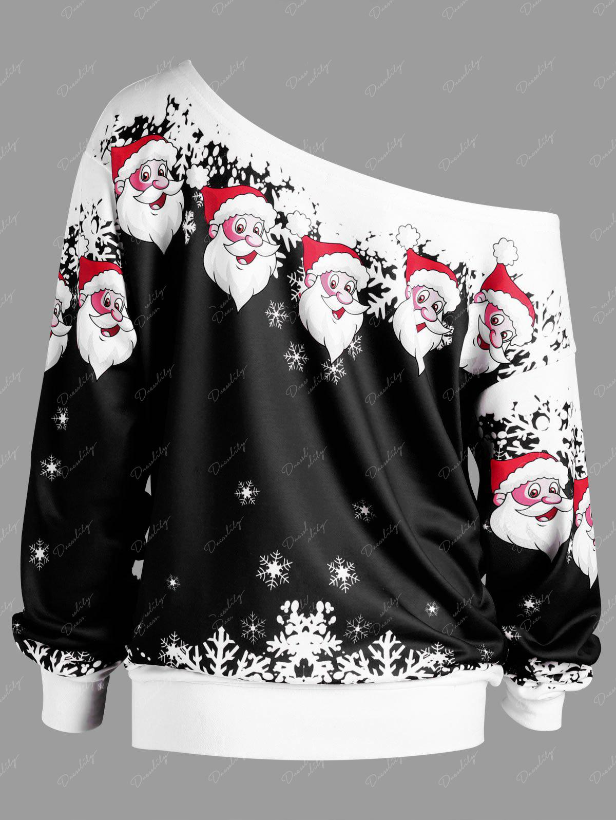 Plus Size Christmas Santa Claus Skew Collar Sweatshirt - BLACK 4XL